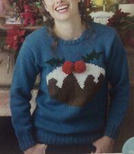 "Ladies Christmas Pudding Motif Jumper/Sweater DK KNITTING PATTERN S-XXL (30-48"")"