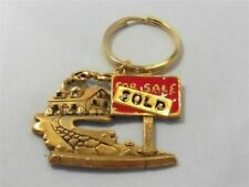 Enamel For Sale Sold Key Chain Vintage Gold Tone New House Home Red