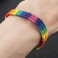 Women Men LGBT Gay Pride Peace Braided Rope Bracelet Rainbow Couple Jewelry Gift
