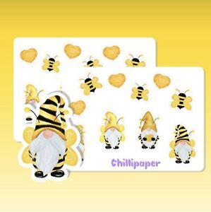 Bee gonks, Gnomes, stickers, Spring, Summer, planner decoration, Garden #1154