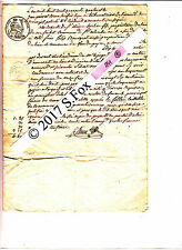 Document manuscrit timbre royal sec& humide 1844