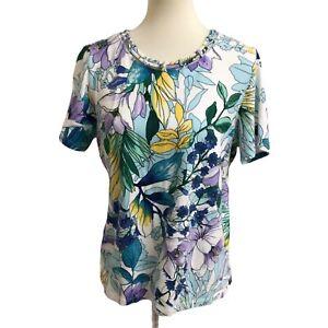 Alfred Dunner Floral Rhinestone Neck Embellished Top Size Medium