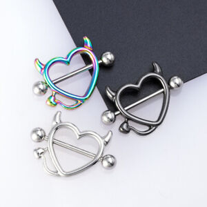 Stainless Steel Breast Piercing Jewelry Heart Nipple Piercing Bar Nipple Rings J