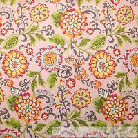 BonEful Fabric FQ Cotton Quilt Pink White Gray Blue Green Leaf Flower Girl Swirl