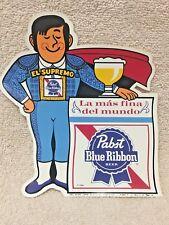 PABST BLUE RIBBON BEER, COOL BLUE, STICKER, Spanish Guy, La mas fina del mundo