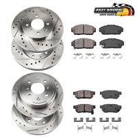 For Honda Civic Si Front+Rear Drilled Slotted Brake Rotors & Ceramic Pads