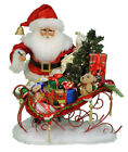 CHRISTMAS DECORATIONS - SANTA WITH TOY FILLED SLEIGH & LIGHTED CHRISTMAS TREE