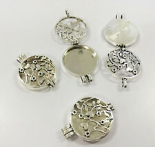 2PCS Vintage Silvier Locket-Essential Oil Aromatherapy Diffuser Necklace Pendant