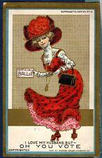 Postcard SUFFRAGETTE American Fashion Lady VOTES FOR WOMEN Female Suffrage 1910