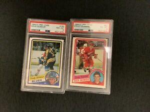 1984-85 O-Pee-Chee PSA 8 Doug Gilmour #185 Yzerman #67 PSA 6 Rookie RC LOT HOF