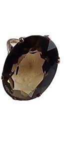 Vintage 9.62g 9ct Gold 375 Birmingham Hallmarked Large Smokey Quartz Ring Size P