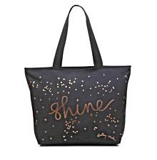 Radley London NWT $35 Tote Black Copper SHINE Dog Dots Zip Closure Shoulder Bag