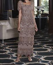 Midnight Velvet Tiered Mocha Medallion Dress Beaded Formal NEW NWT size XL