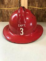 Vintage MSA Skullgard Red Fiberglass Fireman Fire Helmet Skull Guard Firefighter