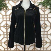 Jones New York Women's Size Medium M Full Zip Velour Black Jacket Sweatshirt
