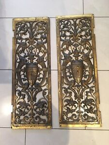Antique French Ormolu Bronze Gargoyle Door Panel pediment