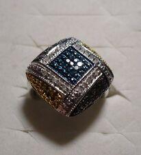 Green,Yellow,Blue & White Diamond Cocktail Ring Sz.6 57diamonds .58tcw MSRP$1024
