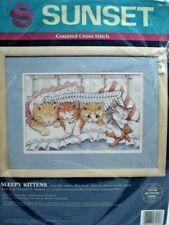 "Sunset Counted Cross Stitch Kit SLEEPY KITTENS 13570 12"" X 8"" 1993 A. Samuel NIP"