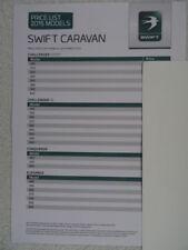 Swift Touring Caravan Price List 2015 - Challenger Sport, SE, Conqueror,Elegance