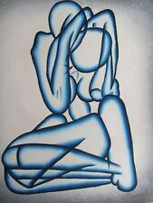 Astratto Nudo Sexy Amanti dipinto ad olio su tela modren Blu Originale Bianco Panna 2