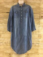 Mama H&M Maternity Shirt Dress Small Pearl Snap Denim Style Western 3/4 Sleeve