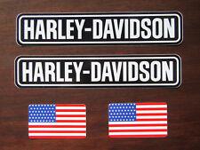2 x HARLEY DAVIDSON Aufkleber + 2 x USA FLAGGE Aufkleber - Sticker Motorrad Bike