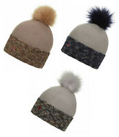 LeMieux Eva Pom Pom Warm Winter Woolen Micro Fleece Beanie Hat Navy/Mink/Grey