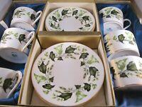 Coalport Green Ivy (10322) Bone China Flat Cups & Saucers (6) In Display Box