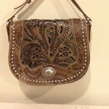 American West-Antique Tan w/ Turquoise cutouts Messenger/ Cross Body bag -NEW!!