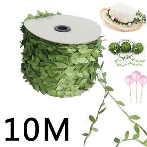 10M Garland Plant Artificial Leaf Vine Fake Green Flower Wreath Home Decor DIY