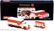 VW Bus T1 + MB - Schuco Piccolo Set 1:90 - Henninger Bräu - NEU & OVP
