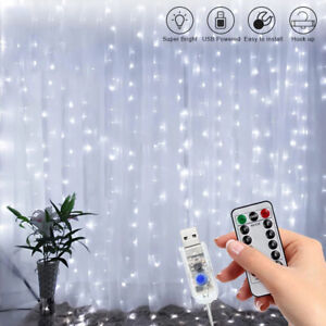 300 LED Curtain Fairy Lights String Indoor/Outdoor Backdrop Wedding Party White