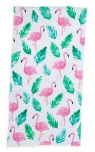 "NWT Cynthia Rowley 36"" x 70"" Oversize Beach Towel Pink Flamingos Tropical Print"