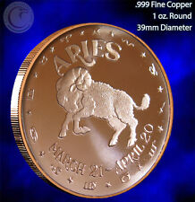 """Aries"" 1 oz .999 Copper Round Part of the Horoscope Series"