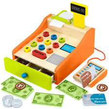 Childrens cash register with card machine, cards and money, toy till