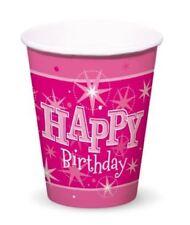 Decoración y menaje vasos de color principal rosa de papel para mesas de fiesta