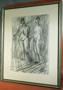Vintage Modern Abstract Study 2 Nudes Mid-Century Picture Frame ORIGINAL Drawing