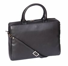 Womens Black Leather Briefcase Business office Bag A4 Files Laptop Shoulder Bag