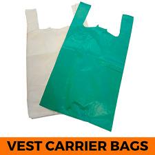 More details for plastic vest carrier bags green white blue - supermarkets stalls shops 11x17x21