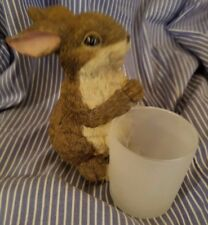 "6"" Resin Rabbit figure with frosted glass cup"