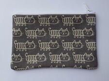Stripy Cat Japanese Fabric Handmade Zippy Coin Purse Storage Pouch