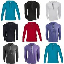 Cotton Blend Hooded Patternless Long Sleeve T-Shirts for Men