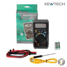 Kewtech KT116 multímetro digital con mediciones de temperatura y resistencia