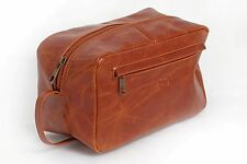WASH BAG TOILETRY COSMETIC TRAVEL GROOMING LEATHER LARGE VINTAGE ANTIQUE STYLE