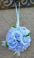 12 FLOWER BALLS LIGHT BLUE Capri Kissing Ball Pomander Wedding Flowers Pew Bows