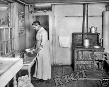 Photograph of a Novelty Kitchener Stove & Old Woman Baking Year 1917  8x10