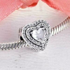 Genuine PANDORA Sparkling Levelled Hearts 799218C01 Charm S925 ALE Bead NEW