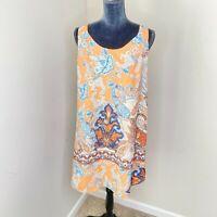 Lila Rose Orange Paisley Print Shift Dress Womens Size 12