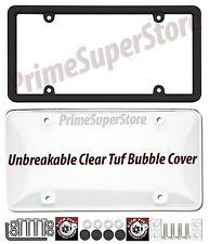 Black License Plate Frame & Unbreakable Polycarbonate Bubble Clear Shield Cover