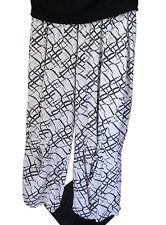 Lagenlook Leins´ Hose Marlenehose Schlupfhose pants Weiss/Schwarz Gr.M L XL XXL